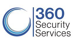 360 Security Services blue 360, black Security Services and blue and gray triple circle logo