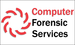 Computer Forensics Services, red Computer and logo, black Forensic Services